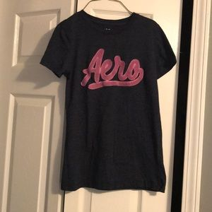 🌷Aeropostale Short Sleeve Shirt L Blue And Pink